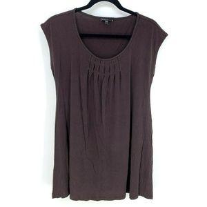 Eileen Fisher 100% Silk Pleated Front Shift Dress
